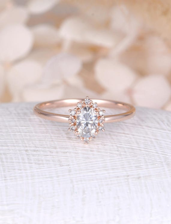Vintage engagement ring Oval Moissanite engagement ring rose