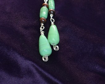 Green and wooden earrings