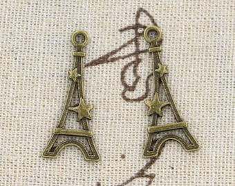 8 Eiffel Tower Charm Pendant 30mm x 13mm Paris - Antique Bronze Tone - Jewelry Making