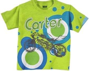 Boys Motorcycle Shirt, Personalized Tshirt, Childrens Clothing