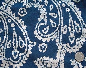 8 Yards of Hand-Printed Blue & White Batik Cotton Fabric