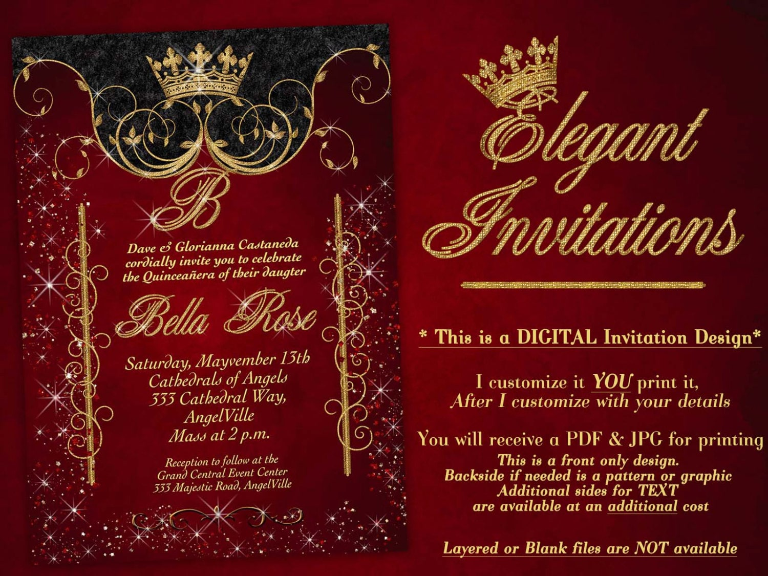 Birthday Party Invitations Quinceanera Invitation Party