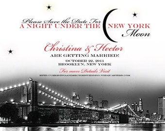 New York Wedding Save the Date or Invitation with Brooklyn Bridge