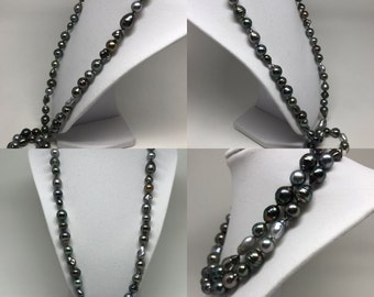 Cultured Tahitian Pearl Strand, Rope Mixed Shape, Multi-Color Baroque Round 14k White Gold (PN7)
