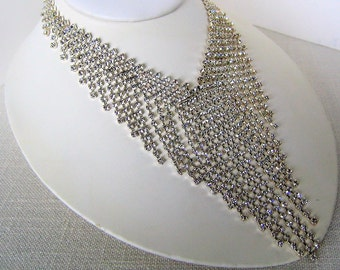 RHINESTONE NECKLACE Cascading Clear Crystals Silver Tone Vintage Costume Jewelry Necklace Wedding Bridal Gift