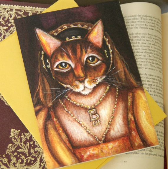 Anne Boleyn Cat Greeting Card