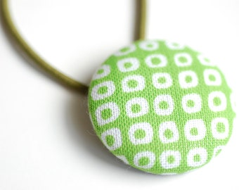 Geometric Fabric Hair Button - Lime Green