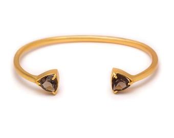 Gemstone Cuff Bracelet - Gold Gemstone Bangle - Smoky Quartz Cuff - Gold Cuff - Smoky Brown Gemstone Bangle