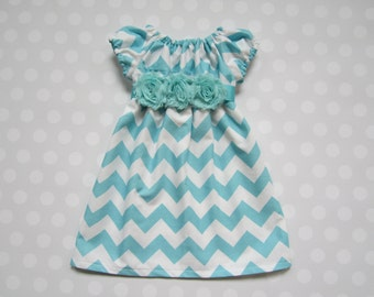 Size 3 month - Ready to Ship - Baby Girl Chevron Cap Sleeve Dress in Aqua - Baby Girl Dresses