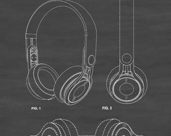 Beats Headphone Patent - Patent Print, Wall Decor, Headphone Poster, Home Theater Decor, Music Buff