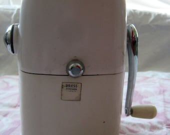 Vintage Ice-O-Mat Hand Crank Ice Crusher, Rival Mfg. Co. Vogue Model, White and Chrome