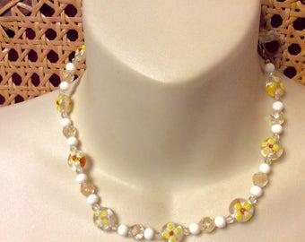 Vintage wedding cake beads spring summer necklace.