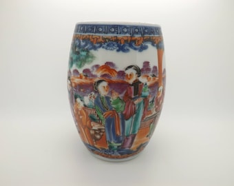 A Qing dynasty 18th Century hand made Chinese Mandarin design barrel tankard decorated with coloured enamels of people in landscape setting