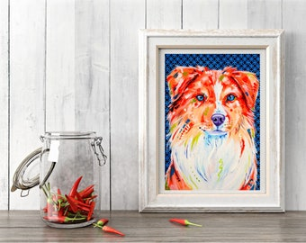 Border collie print, Red border collie, Border collie art, Border collie decor, Dog lover gift, Border collie, Wall decor