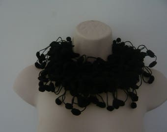 Scarf tassel black crocheted