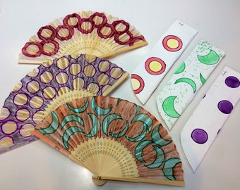 Pink Circle Hand fan, folding fan, hand fans, wedding hand fan, spanish hand fan, wedding fan, hand held fan, church fan, free shipping