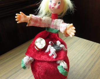 Vintage Adorable Little Miss Muffet Christmas Tree Ornament Holiday
