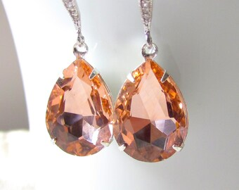 Peach Glass Earrings, Vintage Style, Peach Crystal Earrings, Peach Wedding, Peach Bridesmaid Earring, Drop Earring, Peach Rhinestone Earring