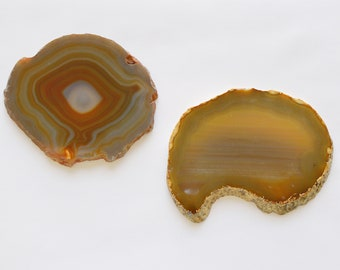 2 Large Earth Tone Agate Crystal Quartz Natural Geode Mineral Rock Stone Slice