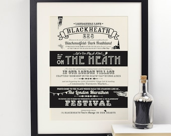 Blackheath location print. Blackheath print. Gift for her. Typography Print. New home gift. Wall art. Gift under 20. London print.