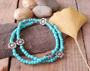 Turquoise and Floral Beaded Wrap Bracelet