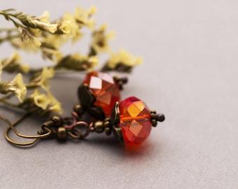 SALE Elvish Sunrise Earrings, Orange Crystal Glass Earrings, Dangle Jewelry, Elvish Romantic Crystal Glass Earrings