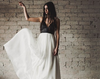 Bohemian Leather and Silk Gauze Floor Length Gown - Phoenix by Cleo and Clementine