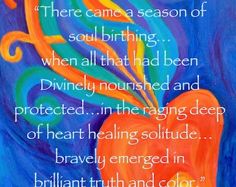 SOUL BIRTHING Painting PRINT cards inspirational quote creative hope art journal healing recovery art therapy