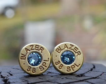 Bullet Earrings stud earrings or post earrings gold earrings Blazer .38 special earrings bullet jewelry with Swarovski crystals
