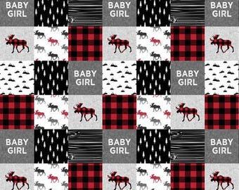 Baby girl red buffalo quilt, minky quilt, woodland nursery, girlnursery, adventure, modern nursery, toddler quilt