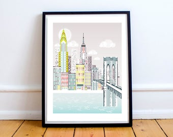 New York Print, Brooklyn Bridge Skyline, New York Wall Art, New York Gift,  Wedding Gift, Valentine Gift, Anniversary