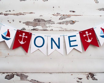 Nautical One Banner,  Nautical I Am One Banner, Nautical Highchair Banner, Nautical 1st Birthday Party, P002