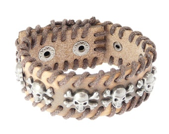 Skull & Crossbones Leather Cuff Wrap Around Gothic Wristband Bracelet - 230