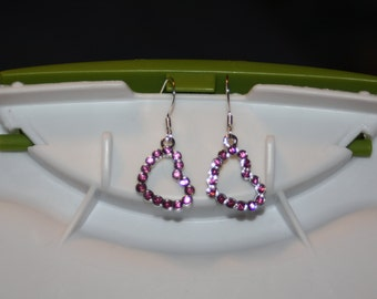 Sparkly Pink Heart Earrings