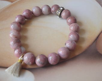 Gemstone Stretch Bracelet   Rhodonite   Gift For Her     Stacking Bracelet