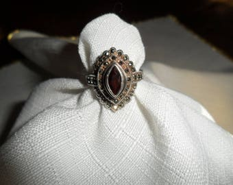 Antique Garnet Marcasite Sterling Silver Ring Size 6