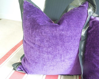 "Violet Chenille Pillow Large with Insert and Zipper Silk Edging and Back  20"" x 20"" Home Decor Gift"