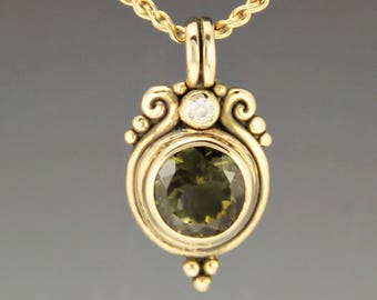 Gold Green Tourmaline Pendant/ Green Stone Necklace/ Moissanite Necklace/ Green Stone Necklace/ Gold One of a Kind Pendant/ Gift for Her