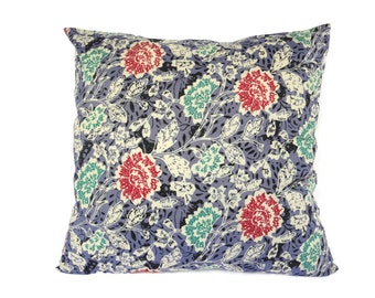 "Indonesian Batik, 16"" x 16"", Pillow Cover, Blue, Envelope"