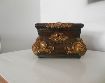 Antique carwed jewelry box