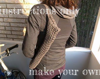 INSTRUCTIONS ONLY - Crochet your own Umbrella Shoulder Sling Mesh Pouch Cotton Carrier Holder Pattern Download