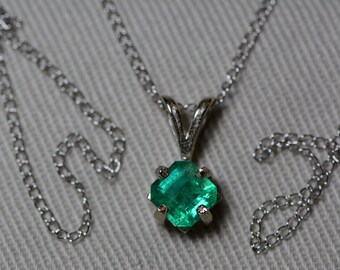 """Emerald Necklace, 14K White Gold Colombian Emerald Pendant 0.64 Carat, Certified Emerald, Real Emerald Princess Cut Jewelry, 18"""" Gold Chain"""