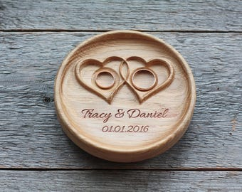 """Personalized Wood Wedding Ring Bearer Pillow, Wedding Ring Dish, Wedding Ring Plate, Ring Bearer Pillow Alternative """"Twisted Hearts"""""""