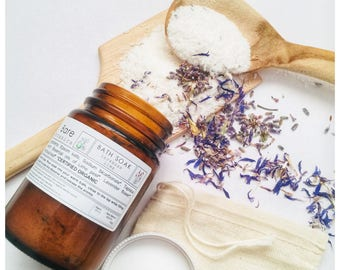 BATH SALTS Lavender & Lime   Me Time   O r g a n i c Flowers and Essential Oils   Natural Bath Salts   Relax   Soothe   Calm  
