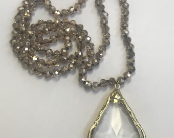 Crystal Necklace with Gold Crystal Pendant