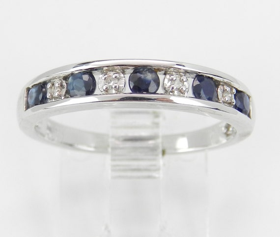 SALE Sapphire and Diamond Wedding Ring Anniversary Band White Gold Size 7
