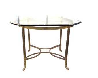 Vintage Brass & Glass Dining/Occasional Table