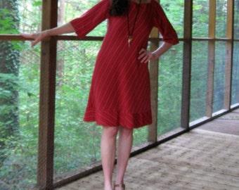 CUSTOM Bias Cut Dress, flared dress, raglan sleeves, square neck, keyhole back