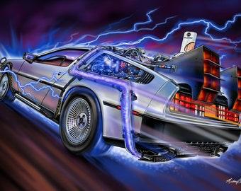 Back to the Future Delorean Time Machine print