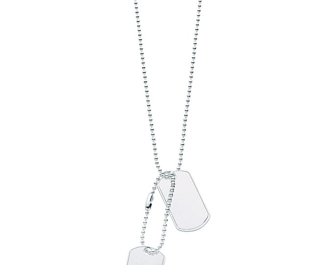 Men's Solid 925 Sterling Silver Dog Tags Chain Necklace Hallmarked
